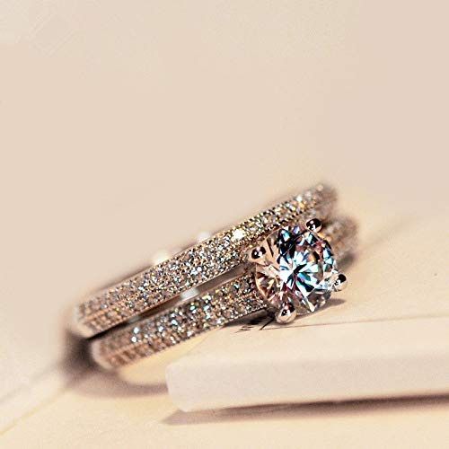 Victoria Jewelry 1ct Topaz Women's Engagement Unique AAA 925 Silver Band Wedding Ring Sets Sz 4-9 (6.5)