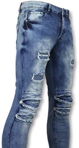 Broeken Met Scheuren Heren - Biker Jeans Heren Skinny - Blauw