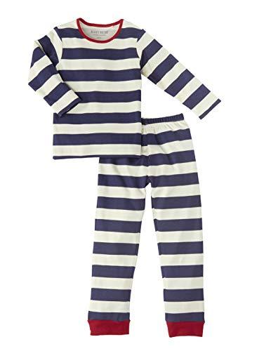 Bio Kinder Schlafanzug 2-teilig 100% Bio-Baumwolle (kbA) GOTS zertifiziert, Blau gestreift, 98/104