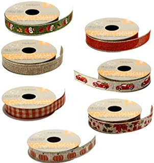 MMT Fall Ribbon Seasonal Decor Crafter's Square 9 ft Rolls Truck Pumpkin Variety 7 Pack Bundle with Surprise Autumn Feuill...