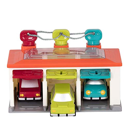 Battat 3 Car Garage – Shape Sorting Toy Garage with Keys and 3 Toy Cars for Toddlers 2 years + (5-Pcs)