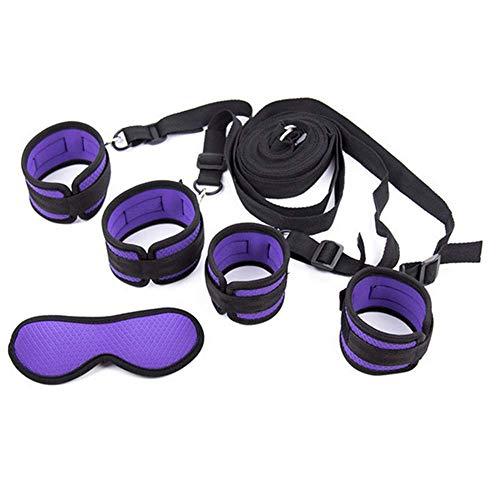Púrpura Nuevas pulseras de tobillo de nylon de rejilla suave de alta calidad Esposas y antifaz Parejas Juego de roles Juego de accesorios deportivos