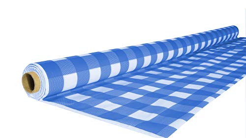Exquisite 40 Inch. x 100 Ft. Gingham Plastic Tablecloth Roll, Checkerboard Design Disposable Table Cover Roll (Blue Gingham)
