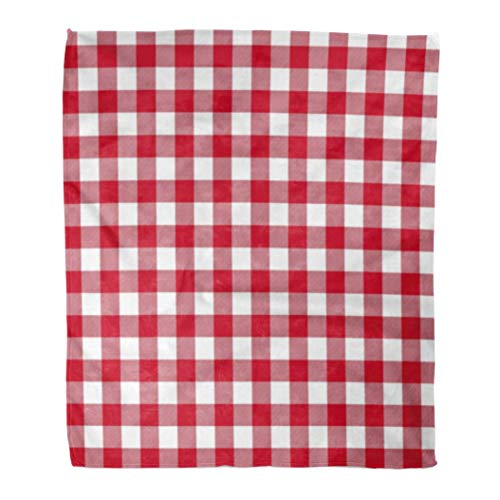 ERshuo Throw Blanket Gingham Red Patterns Tablecloths Checkered 50S Plaid Retro Abstract Breakfast 60x80 Inches Warm Fuzzy Soft Blanket For Bed Sofa 60x80IN