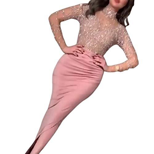 Updayday Damen V-Ausschnitt Meerjungfrau Langarm Gold Applikationen Split Party Prom Kleid Sexy Boden Länge Langarm Elegante Pailletten Meerjungfrau Prom Abendkleider
