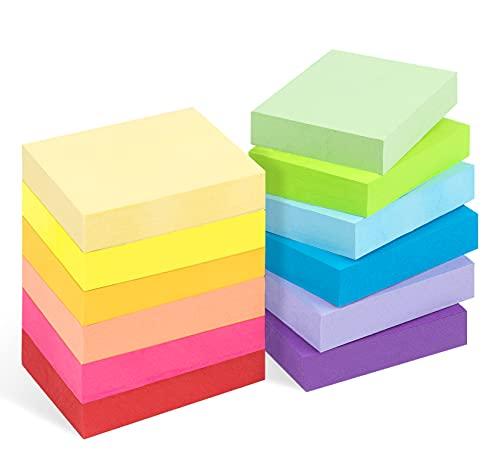 12 Stück Farbige Haftnotizen - 50 x 38mm Sticky Notes, Selbstklebende Haftnotizzettel Klebezettel bunt zettel farbig Notizblöcke für Büro Haus, 1200 Blatt insgesamt, 12 Farben