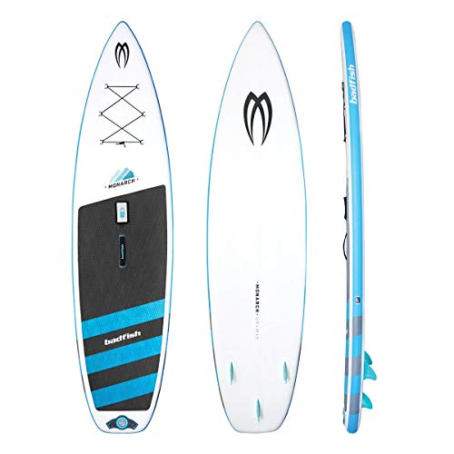 Monarch 11' Foot Inflatable Stand Up Paddle Board (6 Inches Thick, 32 Inches Wide) ISUP , Hand Pump and 3 Piece Paddle, Travel Backpack and Accessories