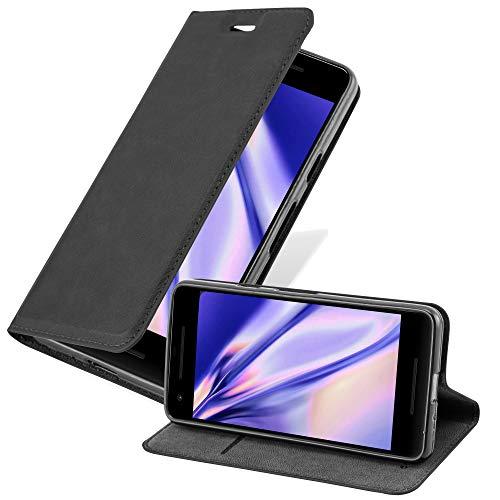 Cadorabo Hülle für Google Pixel 2 XL in Nacht SCHWARZ - Handyhülle mit Magnetverschluss, Standfunktion & Kartenfach - Hülle Cover Schutzhülle Etui Tasche Book Klapp Style