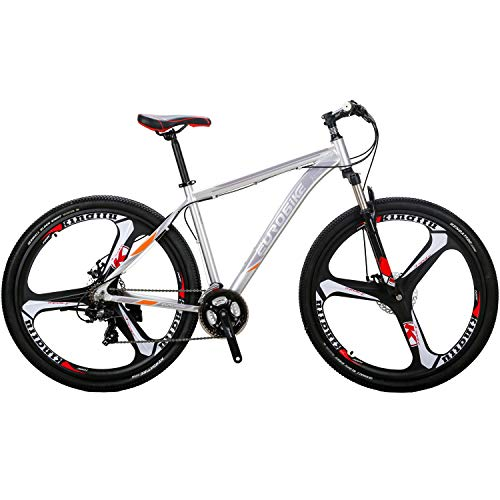"""OBK X9 29"""" Mountain Bike Lightweight Aluminum Frame Front Suspension Daul Disc Brakes 21 Speed Mens Bicycle 29er XL (SLIVERY)"""