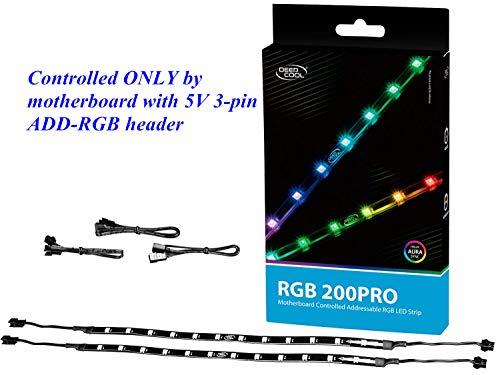 DEEP COOL RGB200 Pro Cintas de Luz RGB para Caja de Ordenador, 550mm, Controlable por Cabezal de 3 Pines -5 V RGB de la Placa Base, Adjunta al PC a través de Imán/Cintas Adhesivas de Doble Cara