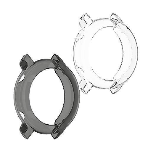 TenCloud Hüllen kompatibel mit Amazfit GTR 47 mm Uhrengehäuse-Zubehör, transparenter TPU-Schutz, kratzfest, für GTR 47 mm (nicht passend für GTR 42 mm) (transparent + schwarz)