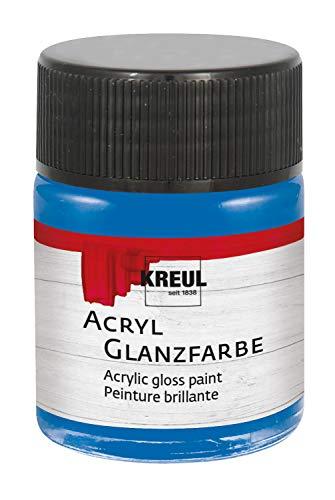 Kreul 79534 - Glänzend - glatte, speichelechte Acrylfarbe zum Anmalen und Basteln, auf Wasserbasis, schnelltrocknend und deckend, im 50 ml Glas, blau