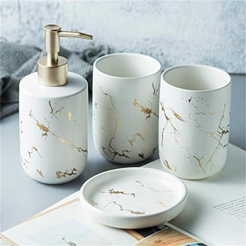 ZHQHYQHHX Nordic marmo ceramica spazzolatura tazza lozione bottiglia dispenser accessori bagno accessori bagno set (colore: bianco, dimensioni: libero)