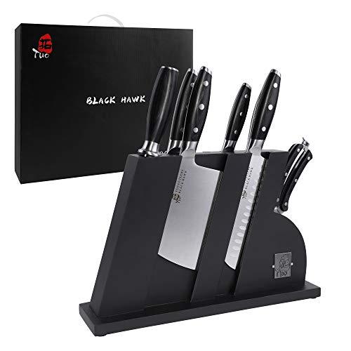 TUO Knife Set - 8 Pcs Kitchen Knife Set with Wooden Block - German HC Stainless Steel Chef Knife Set - Ergonomic Pakkawood Handle - BLACK HAWK SERIES with Gift Box