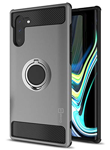 CoverON RingCase Series for Samsung Galaxy Note 10 Case with Ring Holder (2019), Gunmetal Gray