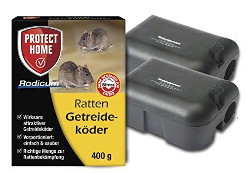 Köder-Discount: Sparset Rattenbekämpfung 2 Köderstationen + 400g Rattengift