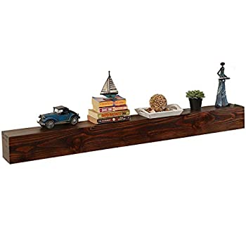 WELLAND 60 - Inch Fireplace Mantel Shelf Real Wood Floating Wall Shelf Walnut Color Pinewood