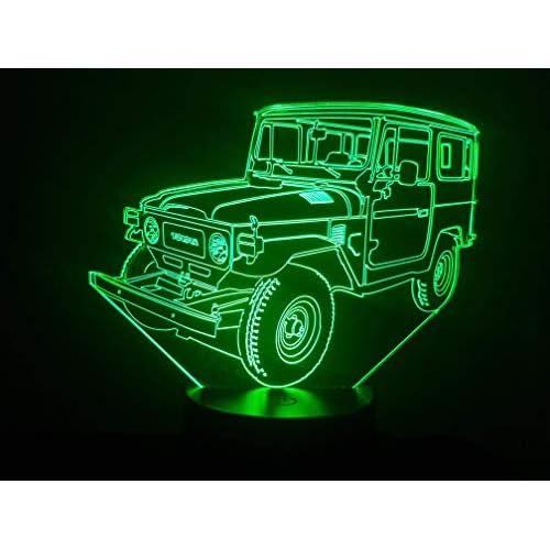 TOYOTA BJ 40, Lampada illusione 3D con LED - 7 colori.