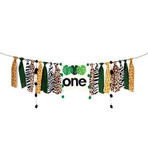 CIEOVO High Chair Banner, First Birthday Decorations for Photo Booth Props, Birthday Souvenir and Gifts for Kids Fishing Theme Baby Shower Best Party Supplies (Jungle)