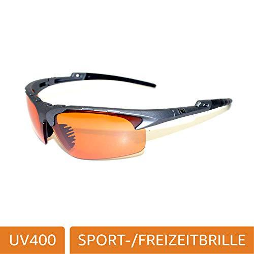 NAVIGATOR Fox Sport- u. Freizeitbrille, Wechselgläser auch geeignet als Fahrrad- Ski- und Motorradbrille, mit UV400 Standard (Sonnenbrille) und rutschfesten Silikonbügeln für Laufsport/Laufbrille