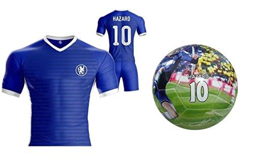 Hazard Kids Jersey + Shorts + Ball =Premium Gift Set Chelsea Eden Hazard #10 Youth Soccer Ball Size 5 Football (YL 10-13 years, Ball+Jersey)
