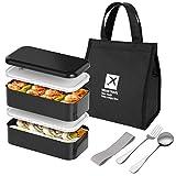 Joyoldelf Lunchbox Bento Box Set - Lunch Box mit 2 LuftdichtenFächern, Edelstahl Löffel, Gabel und Lunch-Tasche für Schule und Arbeit, Mikrowelle- und Spülmaschinefest, schwarz, Lunchbox-to-go