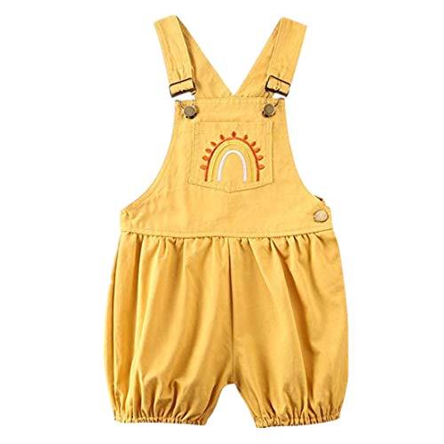 MY Household Neugeborenes Baby Einteiliger Sommeroverall Baby Mädchen Junge Regenbogen Taschenoverall Hosenträger Hosen Overalls Outfits Set (Yellow, 100)