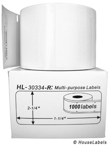 """6 Rolls; 1,000 Labels per Roll; Compatible with DYMO 30334-R Removable Multipurpose Labels (2-1/4"""" x 1-1/4"""") - BPA Free!"""