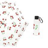 Paraguas Plegable langchao Parasol 50% de Descuento Paraguas Mini Verano Fruta Protector Solar Vinilo Ultra Ligero, Compacto y portátil Cereza 19 Pulgadas