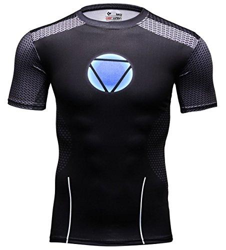 Cody Lundin® Homme Confortable Héros Logo Noir Bodybuilding Sport Running Fitness Manches Courtes (XXL)