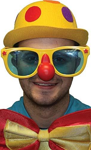 Fancy Me pour hommes femmes grand géant clown cirque costume déguisement lunettes accessoire - Jaune, Jaune, One size