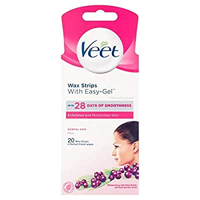 Veet Face Cold Wax Strips for Normal Skin, 10 Double Sided Strips, Pack of 20