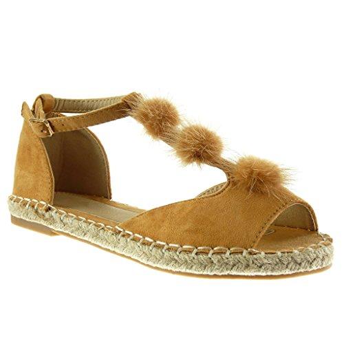 Angkorly - Damen Schuhe Sandalen Espadrilles - Peep-Toe - T-Spange - Bommel - Seil - Bestickt Blockabsatz 2 cm - Camel 736-1 T 38