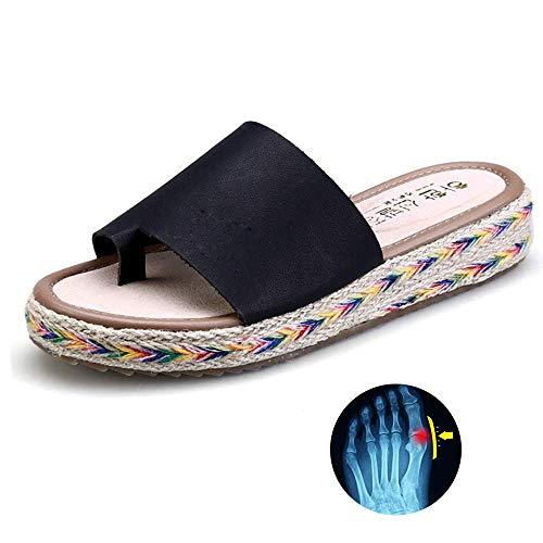 BH Zapatos de Mujer Sandalias correctoras de juanetes Sandalia de Plataforma cómoda Corrección del pie del Dedo Gordo Pisos cómodos Playa Punta Abierta Chanclas de tacón bajo Suave