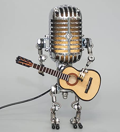 Vintage Microphone Robot Touch Dimmer Lamp Table Lamp-Robot Desk Lamp,Robot Desk Lamp with A Guitar for Office, Living Room, Bedroom Decoration (with Light)