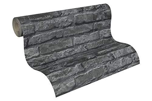 Lutéce Papiertapete Dekora Natur Ökotapete Tapete in Stein Optik fotorealistische Steintapete Backstein 10,05 m x 0,53 m grau schwarz Made in Germany 954701 95470-1