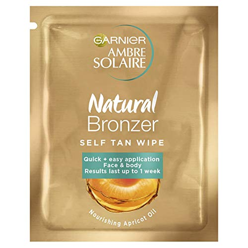 Garnier Ambre Solaire Original Natural Bronzer Self-Tan Face Wipes  - Pack...