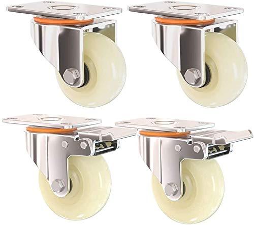 Ruedas de transporte pesado de 5 pulgadas 125 mm Ruedas de transporte industrial universales Ruedas giratorias universales con muebles de freno Ruedas de nylon Rueda de nylon for trolley Workbench 4 P