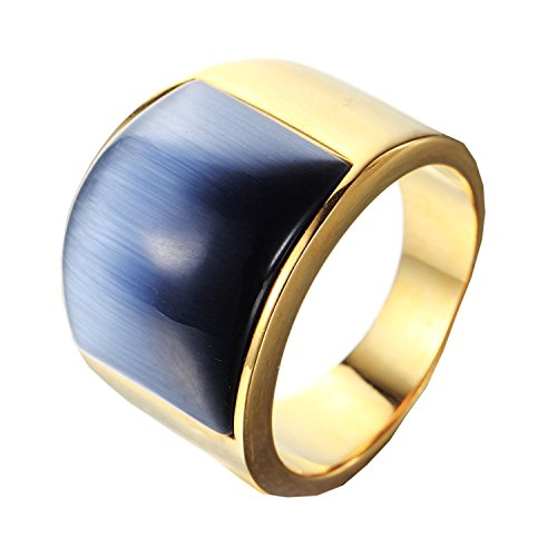 EZSONA Men's Stainless Steel Big Grey Agate Stone Crystal High Polished Ring Size P 1/2