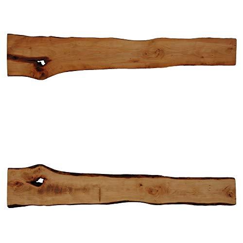 Tisch-Dekoauflage aus Birnbaumholz (Maße in cm, ca.: L x B x H = 100,0 x 11,9 bis 18,4 x 2,3) (Artikel-Nr: H-1-16)