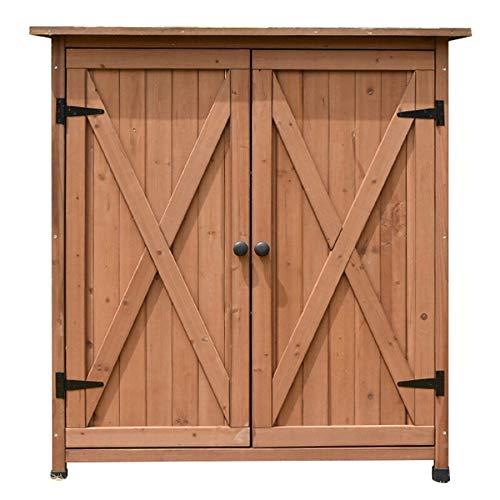 ZzheHou Garden Storage Cabinet 2-Door Outdoor Furniture Sun and Waterproof for Balcony Garden Patio Wooden Garden Tool Shed Storage Cabinet (Color : Coffee, Size : 110x55x118cm)