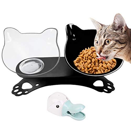 Legendog Futternäpfe Katzenfutter, Kreative rutschfeste Basis Doppelschüssel Hundenapf Katzennapf für Futter Wasser (schwarz und klar)