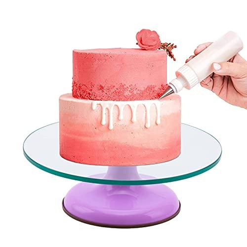 Soporte para Tartas Base Giratorias, 12 Pulgadas Base Soporte Pastel DIY Plato Giratorio, Silencio Repostería Giratorio Decoración Placa, 6 Colores, Fácil De Limpiar