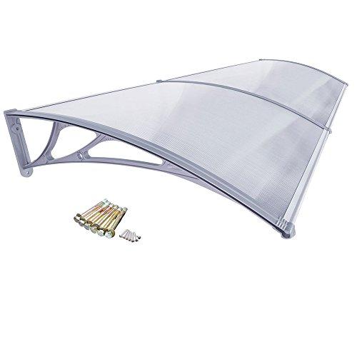 HENGMEI 100x300cm Marquesina protectora Ventanas Toldo Policarbonato Tejadillo de protección para Puerta, Marco gris
