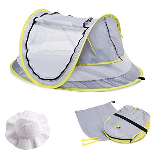 MASCARRY Baby Beach Tent, with A Brim Sun Protection Hat, Portable Baby Travel Tent UPF 50+ Infant Sun Shelters Pop Up Folding Outdoor Bed Baby Shade with Mosquito Net with 2 Pegs