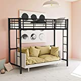 CASART. 3FT High Bed with Twin Ladders and Safety Guardrail, High Sleeper & Household Space Saver, Metal Bunk Bed Loft Frame for Boys Girls Teens Kids Bedroom Dorm (Black)