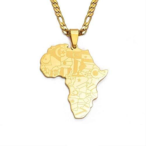 ZJJLWL Co.,ltd Collar Mapa de África Collar Colgante Collares Mujeres Hombres Joyería Nacional Africana Mapa del país Africano Bandera Color Dorado Regalo de la joyería