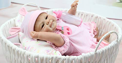 Pinky Simulation 18inch 45cm Lovely Lifelike Realistic Looking Soft Vinyl Silicone Reborn Doll Baby Girl Newborn Baby Dolls Xmas Gift Birthday Present