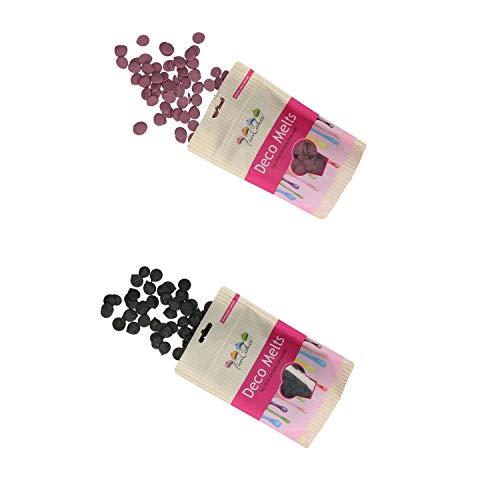 FunCakes - Decor Melts - 250g Ideal para Hacer gotitas o lineas sobre Bombones, piruletas o Cubrir Galletas, Frutas, y Mucho más!- Pack de Colores (Morado y Negro)