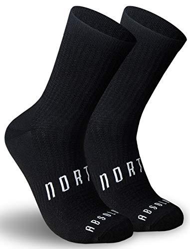 Calcetines Negros para Ciclismo, MTB y Running de Caña Alta para Hombre y Mujer – Absolute Black (L-XL (43-46))